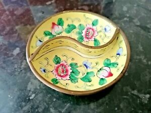 ORIENTAL CLOISONNE ENAMELLED & BRASS HAND PAINTED 2 SIDED PRETTY DISH