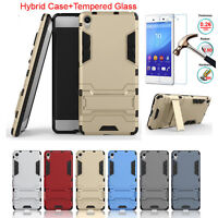 Hybrid Armor Stand Case Cover + Tempered Glass Protector For Sony Xperia Phones