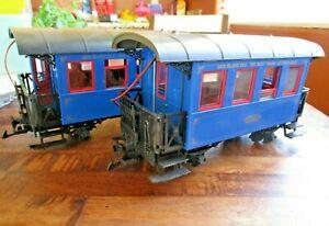 LGB 3007 Der Blair Zug The Blue Train- Pair of Passenger Cars, G Scale w/ Lights