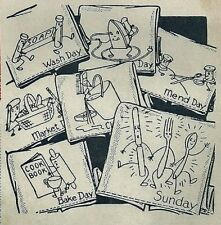 Vtg Embroidery iron on Transfer 3410 Animated designs for Dish Towels Potholder