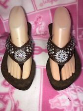 JUSTIN WOMENS WEDGE SANDALS BROWN WITH BLING SIZE 9M