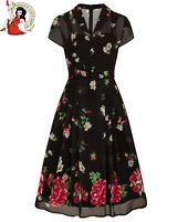 HELL BUNNY JOLIE PAPILLON DRESS butterfly FLORAL 40s style CHIFFON tea XS-4XL