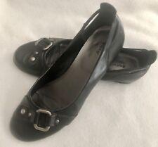 Apt 9 Women's Black Flats shoes tailored classic styling silver buckle EUC sz 7