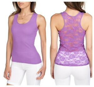 NEW SEXY Lace Racerback Ribbed Solid Cotton Tank Top Sleeveless Shirts Gym Yoga