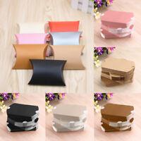 10/50pcs almohada de papel caja dulces bolsas de regalo caramelo navidad boda