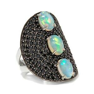Rarities Ethiopian Opal & Black Spinel Sterling Silver Shield Ring