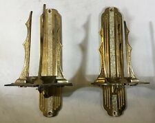 Vtg Ornate Pair Candle Wall Church Catholic Brass Bronze Lamp Sconce Holders