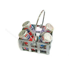 Dollhouse Miniature 8 Cans of Coke in Metal Silver Basket Accessories 1:12 Scale