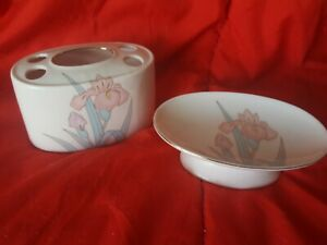 Vintage Pink Lillies Soap Dish and Toothbrush Holder
