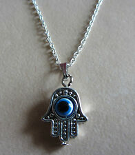 "18"" Inch 925 Sterling Silver Chain Evil Eye Hamsa Hand Pendant Necklace"