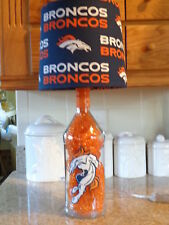Sports Table/Desk Lamp (Hand-Painted Denver Broncos Logos & Team Shade)