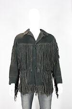 Vintage leather jacket 42 fringe hippie 70s black fidelity biker vtg made in usa