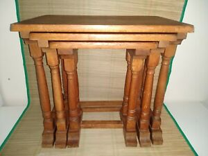 Vintage Small Solid Oak Nest Of 3 Wooden Coffee Tables