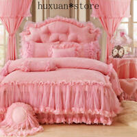 Princess Korean Style Lace Bedding Set Queen King Bed Sheet Duvet Cover Bedskirt