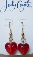 Jody Coyote Earrings JCE3 Heart Collection red Valentines bead gold dangle
