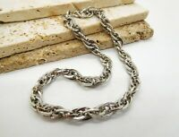 Vintage Silver Tone Patterned Scroll Link French Rope Chain Choker Necklace N18