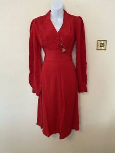 The Seamstress Of Bloomsbury Ava Dress In Red Size 8 BNWT RRP £89