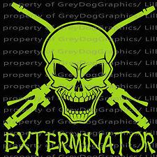 Exterminator Skull Vinyl Decal Pest Control  Decals Stickers for Auto Car