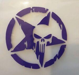 "2x Skull Star Circle Punisher Car Van Vinyl Sticker Decal Window Camper 5""Purple"