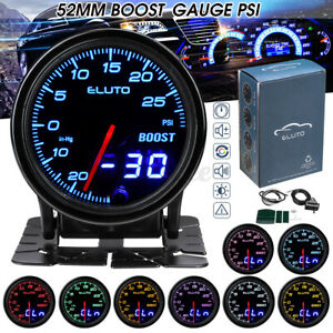 2'' 52mm Digital & Pointer 10 Color LED Car Turbo Boost Meter Psi Pressure Gauge