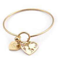 Stainless Steel Bangle Women Bracelet Love Hearts Bracelets Mesh Charm