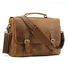 "Retro 100 Crazy Hourse Leather Briefcases 14"" Laptop Messenger Tote Sholder Bag"