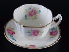 Antique Bell China Tea Cup Saucer Pink Rose Gold Trim