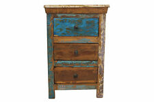 Bedside Table Solid Reclaimed Teak Wood 3 Drawers Bedroom Storage Free Delivery