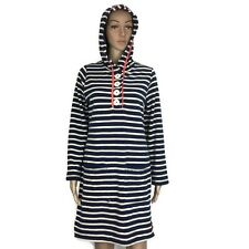 Boden Blue White Striped Swim Beach Cover Up Hooded Dress Terry Size 8 (AT9)