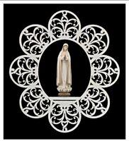 Ornamento Con Estatua de Fátima 5 Apariciones en Madera De en Val Gardena CM 17