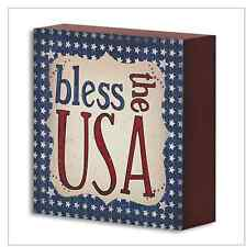 Bless the USA Wood Box Sign Patriotic Americana - Country Rustic Primitive