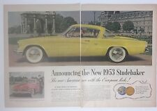 Original Print Ad 1953 STUDEBAKER in France car with European Look! 2 Page