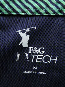 F&G Tech Men's Green-Blue Striped SS Shirt (L) OMG! ⛳️ 🔥