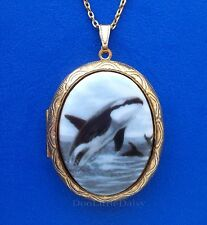 Whales Porcelain Orca Killer Whale Cameo Costume Jewelry Locket Pendant Necklace