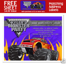 8 Monster Truck Birthday Party Personalized Invitations