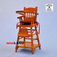 XY107C Heidi Ott Dolls House Miniature wooden High Chair dollhouse Scale