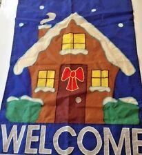 "Decorative Garden Flag indoor outdoor Christmas gingerbread house says ""Welcome"""