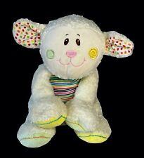 "Mary Meyer Cheery Cheeks White LAMB Sheep 11"" Plush Multi-Color Stripes Dots"