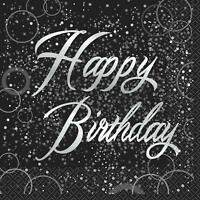 Birthday Silver Glitz Happy Birthday Luncheon Napkins, 16 pk - Foil Stamped