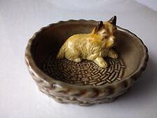 """VINTAGE  WADE  - Dog In A Basket Trinket Dish - Stamped  """"WADE ENGLAND"""""""