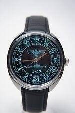 Russian mechanical watch RAKETA U-47. 24H Black dial. 39mm