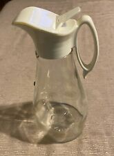 "Log Cabin Syrup Pitcher Glass Bottle Gold Eagle Design  8.5"" Vintage Kitchen"