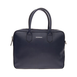 RRP €645 EMPORIO ARMANI Leather Briefcase Bag Large Laptop Pocket Made in Italy