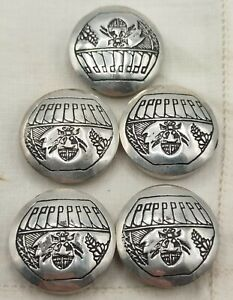Vintage 5 Etched Scarab, Beetle Bug Button Covers Silver Tone Set