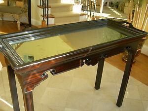 Maitland Smith Ebony Finished Antique Aged Mirror Top Sofa Table or Console