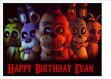 """five nights at freddy's 10"""" x 8"""" Personalised cake topper on Premium Wafer Card"""