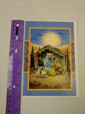 Fantus Paper Products Christmas Holiday Card Unused Nativity, Holy Family, Sheep