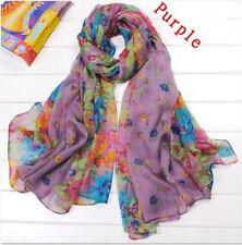 Women's Cotton Candy Long Crinkle Scarf Soft Wraps Shawl Flower Purple GOOD5698