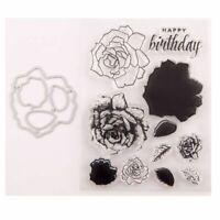 Flower Happy Birthday Seal Stamp With Cutting Dies Stencil Set DIY Scrapbooking