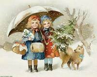 Winsch Children Winter with Dog Christmas Tree 8 x 10